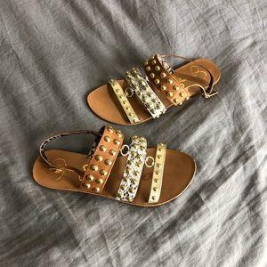 Jessica Simpson Studded Sandals Size 6 EUC Leather